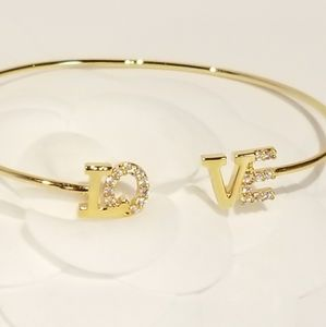LOVE Pave CZ Cubic Zirconia Bracelet Bangle Cuff